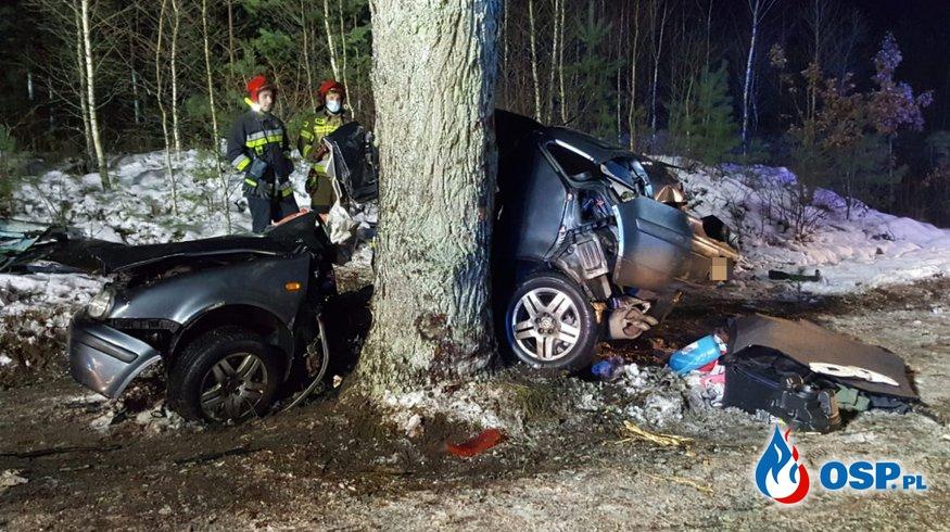 Auto z ogromną siłą uderzyło w drzewo. Zginął 28-letni kierowca. OSP Ochotnicza Straż Pożarna