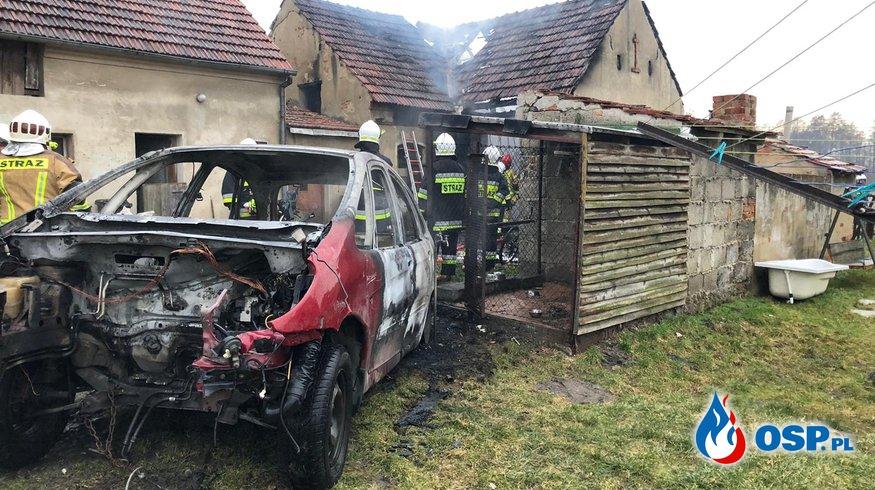 Pożar samochodu i stodoły w Przysieczy OSP Ochotnicza Straż Pożarna
