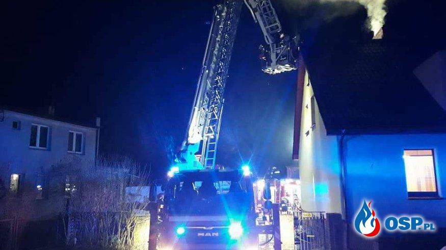 Pożar poddasza Barcino 25.01.2018 OSP Ochotnicza Straż Pożarna