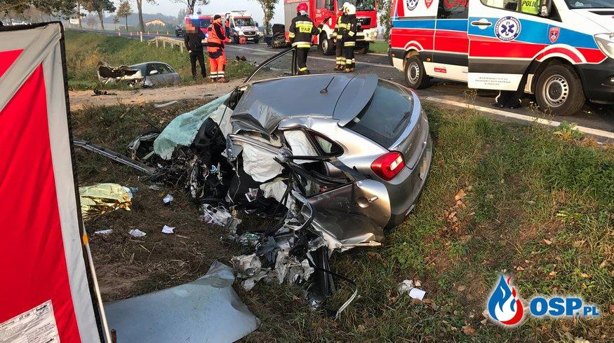 Tragedia na DW307. Jedna osoba nie żyje, sześć jest w szpitalu OSP Ochotnicza Straż Pożarna