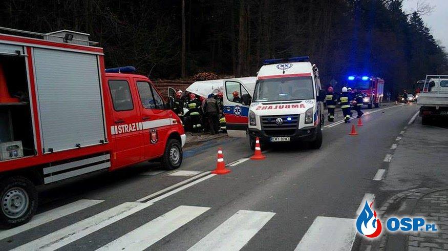 Wypadek w Biertowicach - DW956 OSP Ochotnicza Straż Pożarna