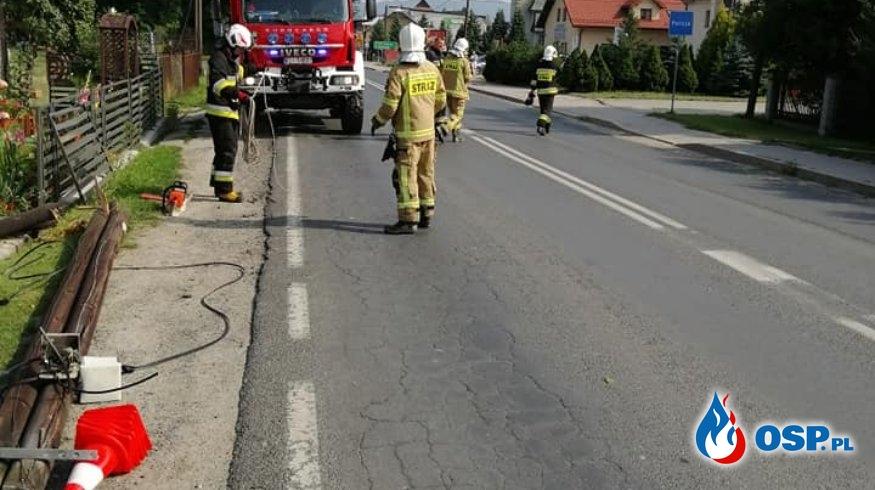 PRZEWRÓCONE SŁUPY TELEKOMUNIKACYJNE OSP Ochotnicza Straż Pożarna