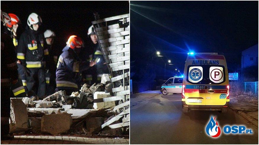 Mężczyzna uwięziony pod gruzami po wybuchu gazu. Akcja ratownicza w Lubartowie. OSP Ochotnicza Straż Pożarna