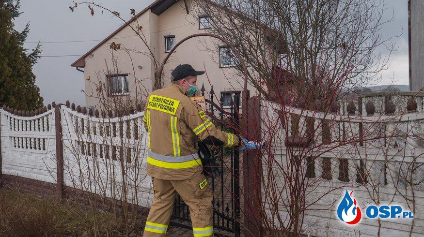 Kolportaż ulotek w ramach ogólnopolskiej akcji szczepień przeciw COVID-19 OSP Ochotnicza Straż Pożarna