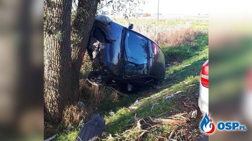 Próbował ominąć ptaka, auto dachowało i uderzyło w drzewo OSP Ochotnicza Straż Pożarna