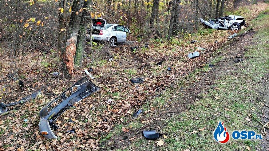 Auto rozpadło się na części po zderzeniu z drzewem. Kierowca został ciężko ranny. OSP Ochotnicza Straż Pożarna