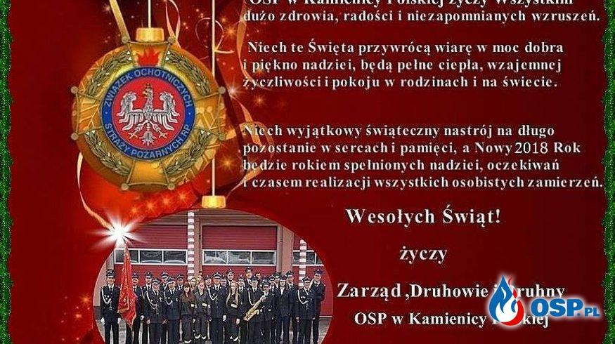 Rodzinnych,Spokojnych Świąt . OSP Ochotnicza Straż Pożarna