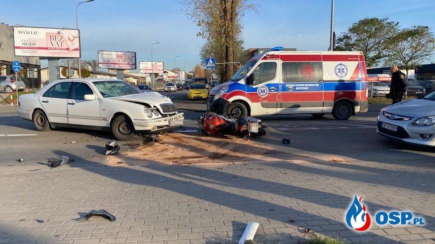 Motocyklista ciężko ranny po zderzeniu z samochodem w Opolu OSP Ochotnicza Straż Pożarna