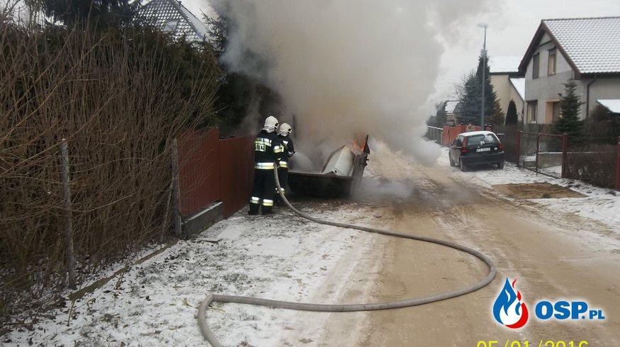 Pożar kontenera ze śmieciami-Gruszczyn. 5.01.16r OSP Ochotnicza Straż Pożarna