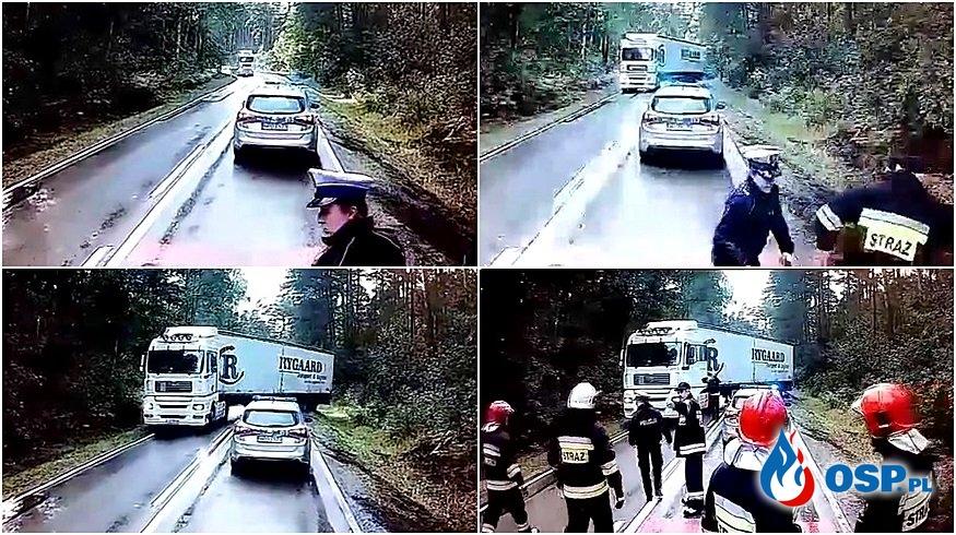 Rozpędzony TIR omal nie staranował strażaków i policjantów. NOWE INFORMACJE! OSP Ochotnicza Straż Pożarna