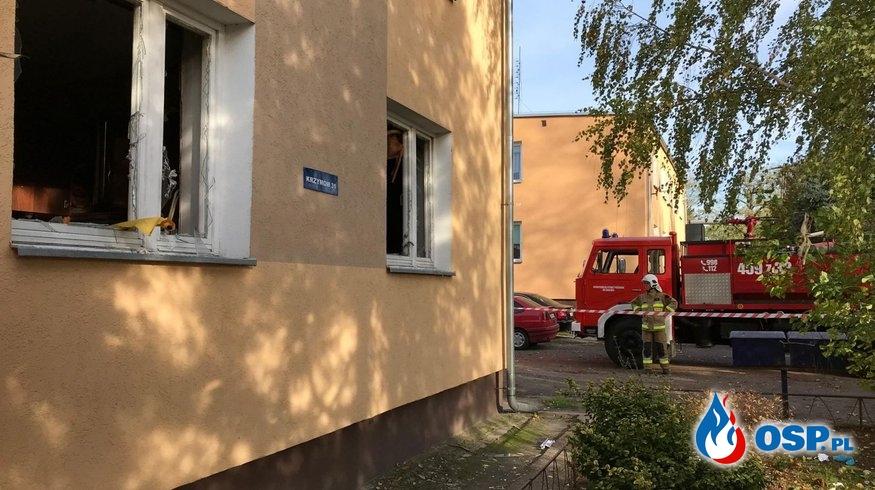 Wybuch gazu w budynku wielorodzinnym w Krzymowie OSP Ochotnicza Straż Pożarna