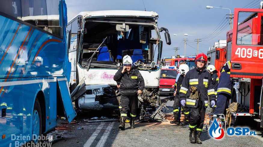 20 osób rannych po zderzeniu autokarów z dziećmi na przejeździe kolejowym w Ruścu! [ZDJĘCIA i FILM] OSP Ochotnicza Straż Pożarna