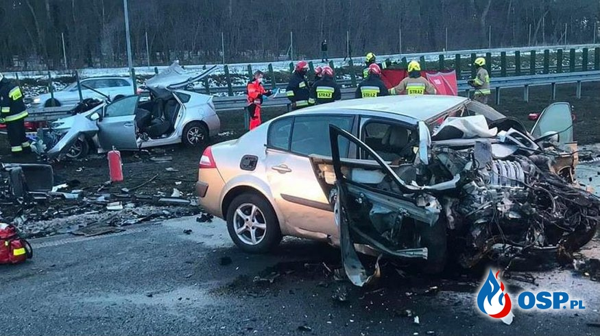 Dwie osoby zginęły w czołowym wypadku na S3. Jeden z kierowców wjechał pod prąd! OSP Ochotnicza Straż Pożarna