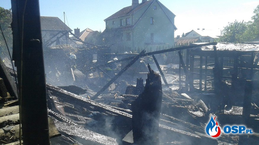Tragiczny w skutkach pożar zabudowań gospodarczych  OSP Ochotnicza Straż Pożarna