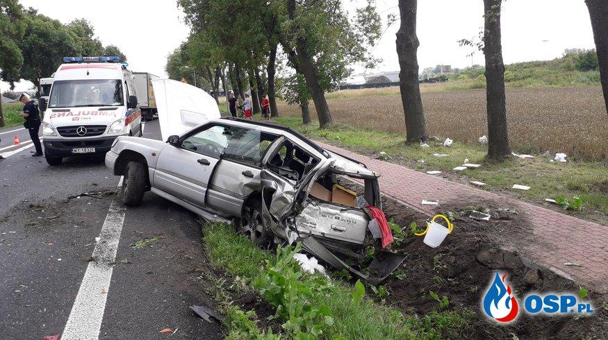 Wypadek drogowy DK50 miejscowość Guzów OSP Ochotnicza Straż Pożarna