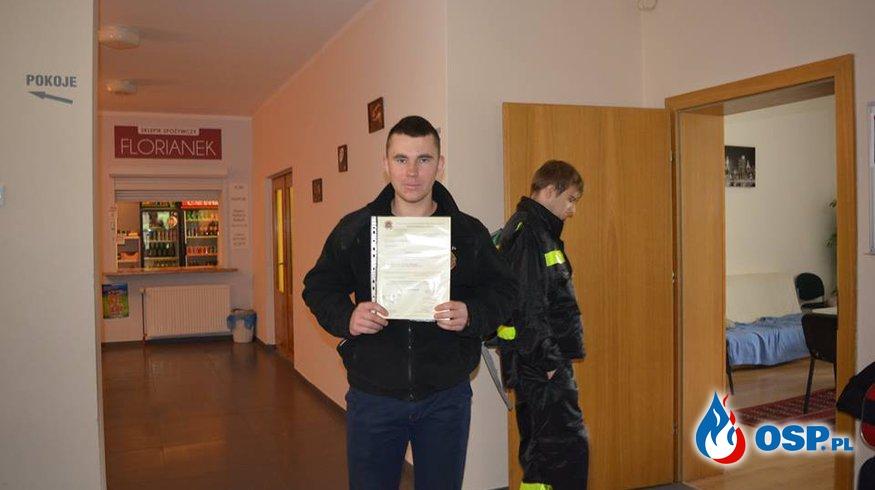 Nasz druh z certyfikatem ukończenia KPP OSP Ochotnicza Straż Pożarna