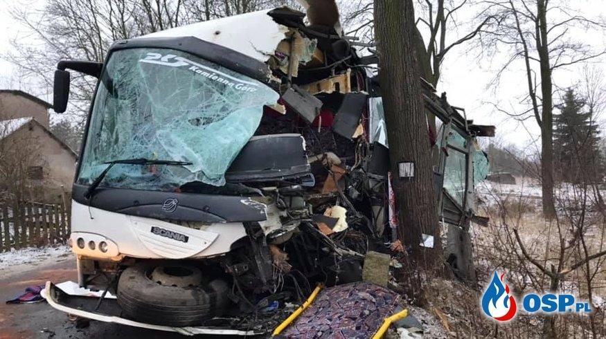 Wypadek autobusu z dziećmi. 9 osób trafiło do szpitala. OSP Ochotnicza Straż Pożarna