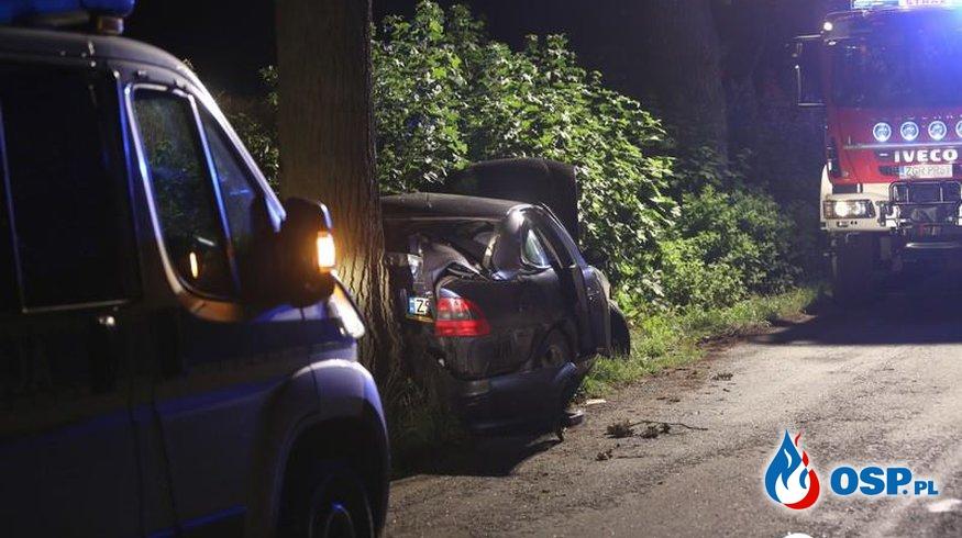 Wypadek na łuku drogi powiatowej OSP Ochotnicza Straż Pożarna