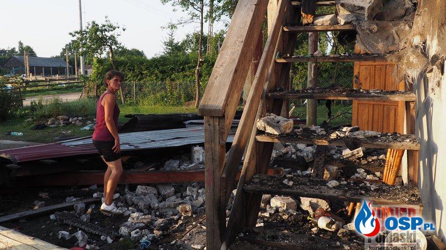 Pożar domu w Wałkach i ogroma prośba o pomoc OSP Ochotnicza Straż Pożarna