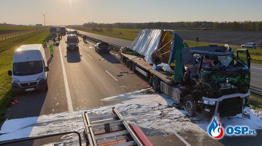 Autostrada A2 - dwa wypadki w jednym czasie OSP Ochotnicza Straż Pożarna