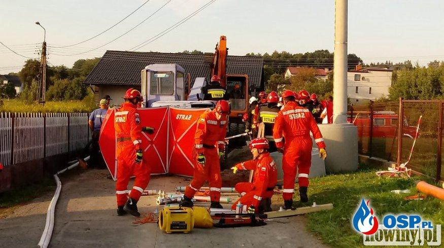 Tragiczny wypadek podczas prac kanalizacyjnych. OSP Ochotnicza Straż Pożarna