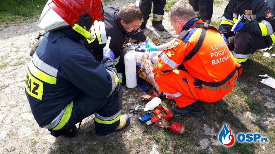 Kostów - Poparzona kobieta w ciąży zabrana przez LPR OSP Ochotnicza Straż Pożarna