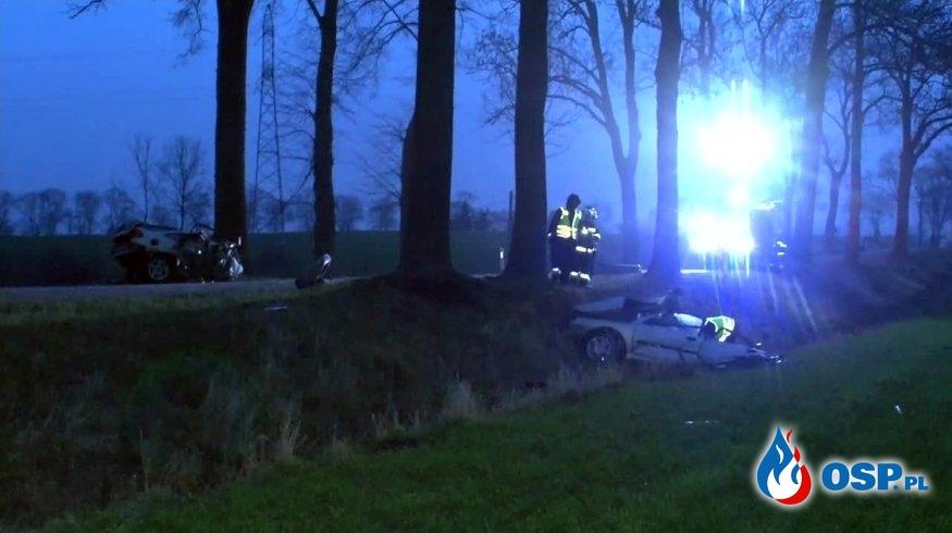 Auto rozpadło się na pół po zderzeniu z drzewem. Dwie osoby zginęły. OSP Ochotnicza Straż Pożarna