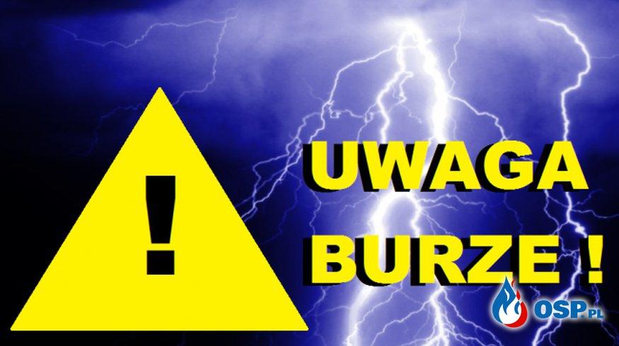 Komunikat ostrzegawczy - burze z gradem! OSP Ochotnicza Straż Pożarna