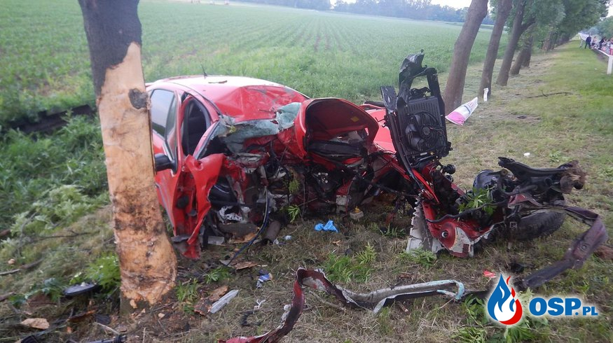 23-letnia kobieta wbiła się seatem w drzewo. Zginęła na miejscu. OSP Ochotnicza Straż Pożarna