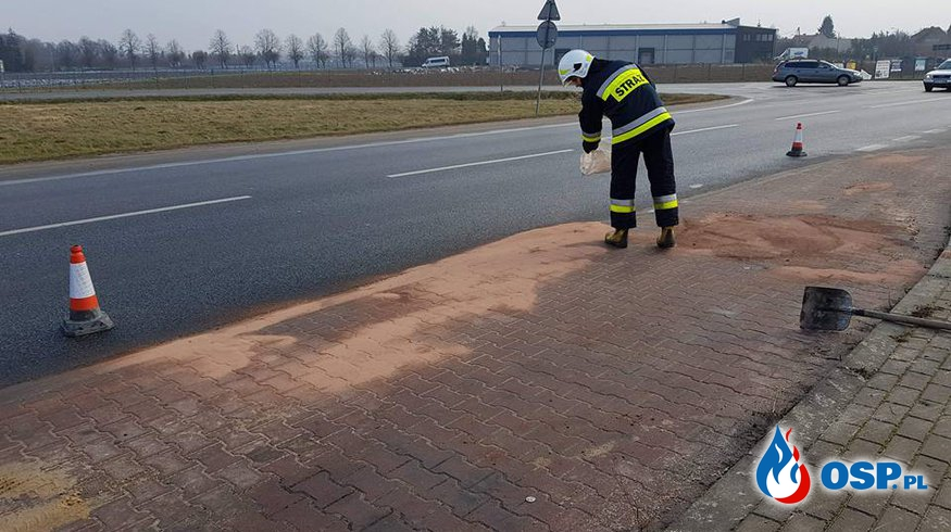 Neutralizacja plamy oleju na przystanku autobusowym. OSP Ochotnicza Straż Pożarna