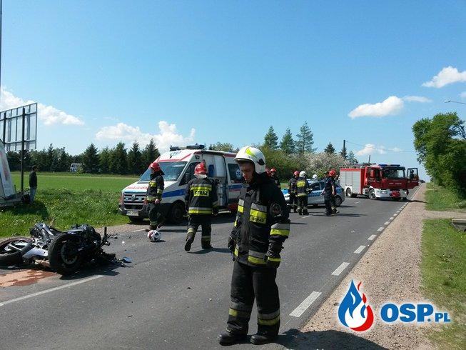 Groźny wypadek z udziałem motocyklisty OSP Ochotnicza Straż Pożarna
