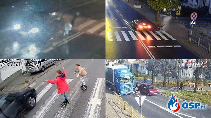 Seria groźnych wypadków na przejściach dla pieszych. Te nagrania dają do myślenia. OSP Ochotnicza Straż Pożarna