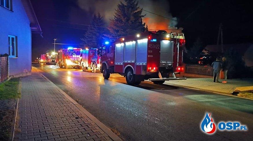 POŻAR PODDASZA BUDYNKU MIESZKALNEGO OSP Ochotnicza Straż Pożarna