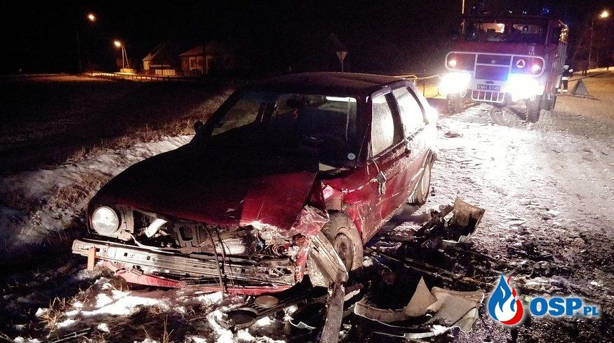 Wypadek samochodowy 8.02.2017 OSP Ochotnicza Straż Pożarna