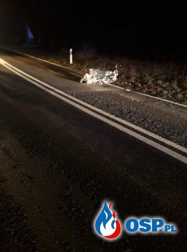 Wypadek motocyklisty OSP Ochotnicza Straż Pożarna