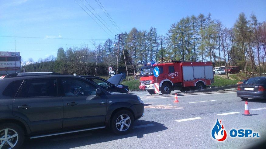 Kolizja dwóch samochodów osobowych OSP Ochotnicza Straż Pożarna