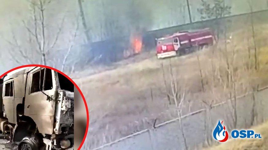 Wóz bojowy straży pożarnej spłonął podczas akcji gaszenia traw OSP Ochotnicza Straż Pożarna