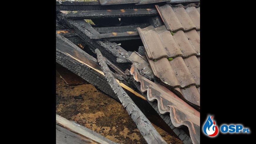 Pożar poddasza Plebanii w Szymiszowie OSP Ochotnicza Straż Pożarna