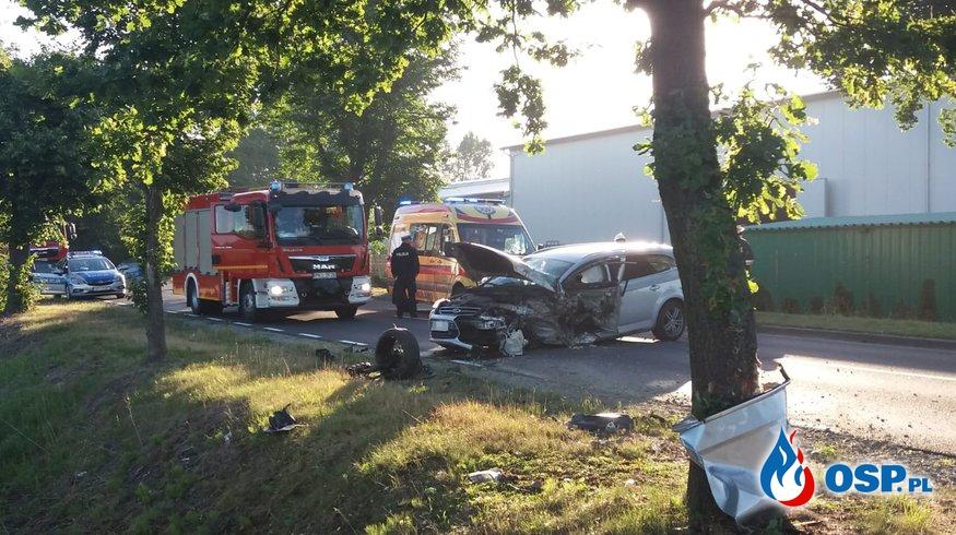 Uderzył w drzewo, wypadek w Ruszkowie Drugim! OSP Ochotnicza Straż Pożarna
