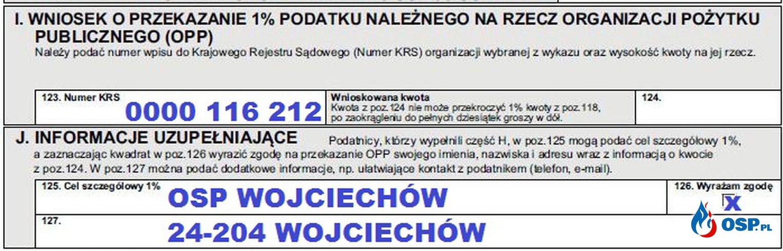 Oddaj 1% podatku dla OSP Wojciechów OSP Ochotnicza Straż Pożarna