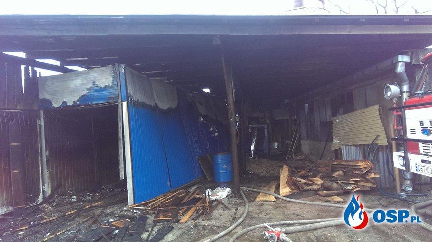 Pożar suszarni drewna na terenie stolarni w Żędowicach. OSP Ochotnicza Straż Pożarna
