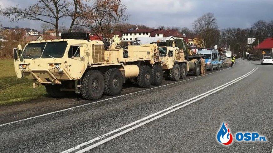 Kolejny wypadek amerykańskich żołnierzy. Zderzyły się trzy wozy pancerne. OSP Ochotnicza Straż Pożarna