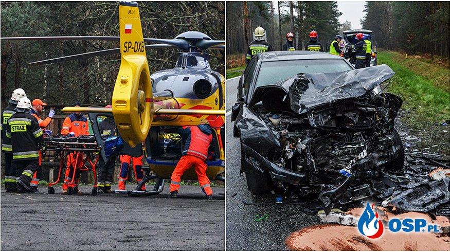 Czołowe zderzenie pod Opolem, dwie osoby trafiły do szpitala OSP Ochotnicza Straż Pożarna