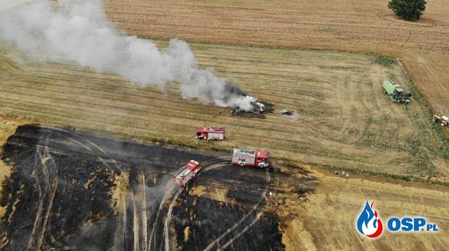 Pożar zboża na pniu oraz kombajnu - Naprusewo OSP Ochotnicza Straż Pożarna