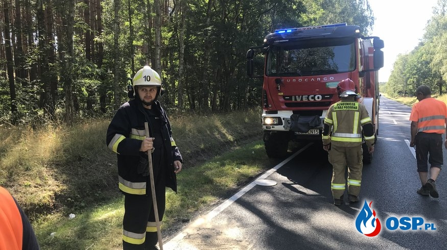 140/2020 Plama oleju na DK 26 OSP Ochotnicza Straż Pożarna