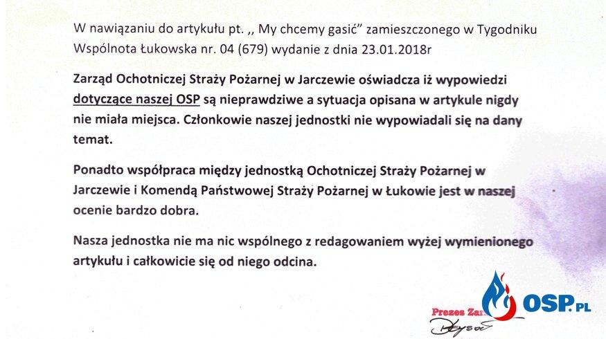 Oświadczenie Zarządu OSP Jarczew OSP Ochotnicza Straż Pożarna