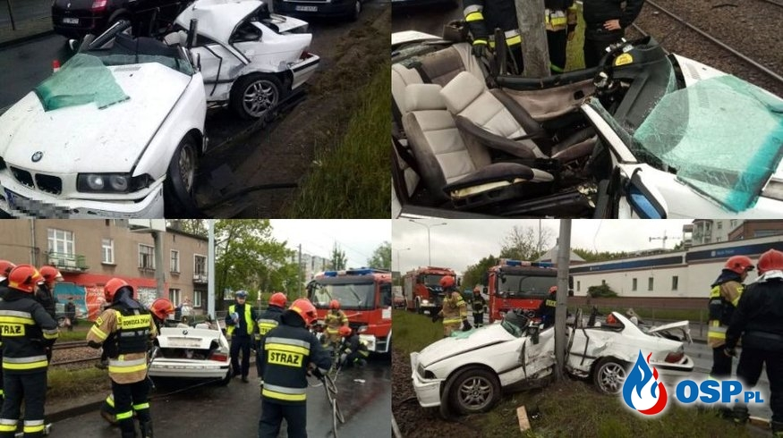 BMW owinęło się wokół słupa. 23-letni kierowca został ranny. OSP Ochotnicza Straż Pożarna