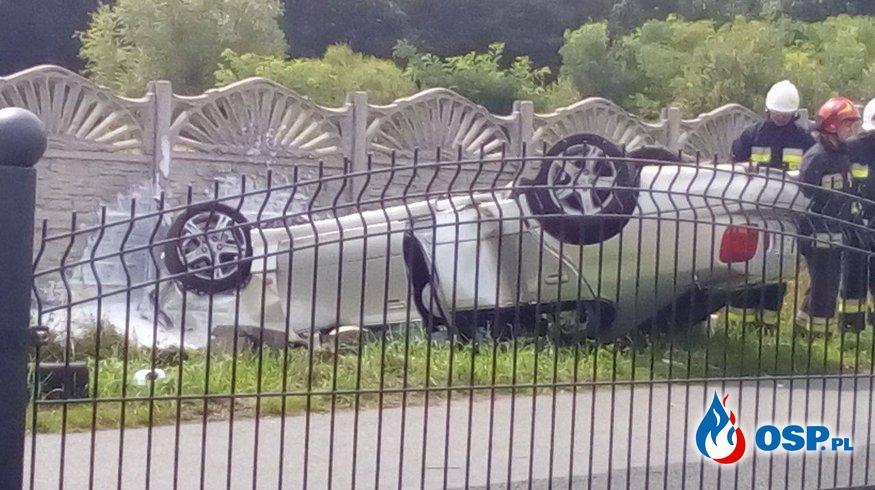 06.08.2017 Dachowanie samochodu osobowego  OSP Ochotnicza Straż Pożarna