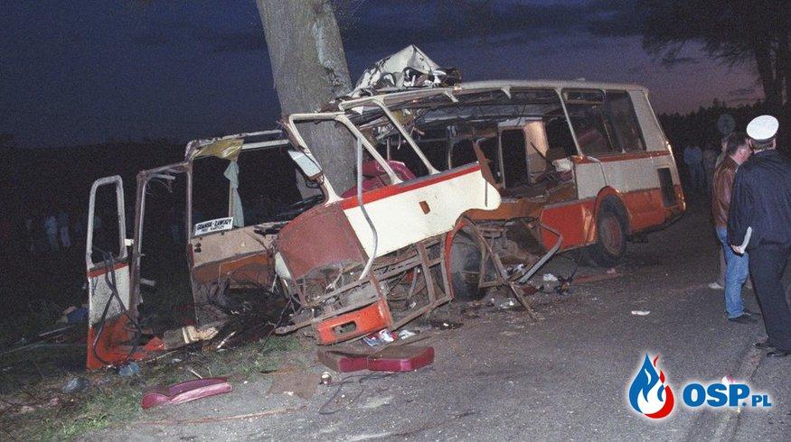 32 osoby zginęły w wypadku autobusu PKS. 27 lat po tragedii w Gdańsku. OSP Ochotnicza Straż Pożarna