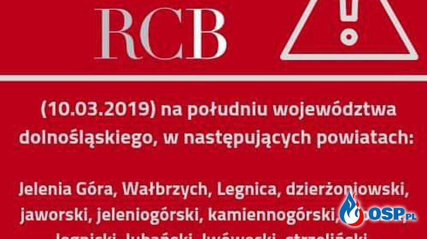 Kolejny Alert RCB OSP Ochotnicza Straż Pożarna